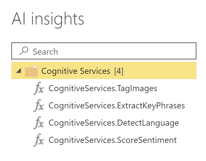 Power BI AI Insights - Available Functions