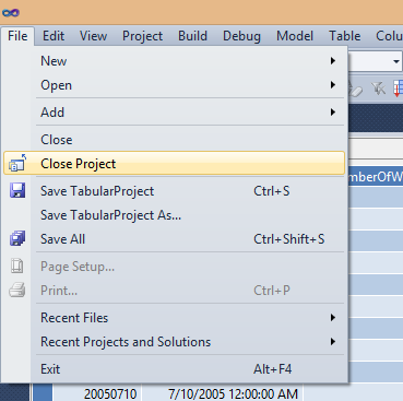 Close the project