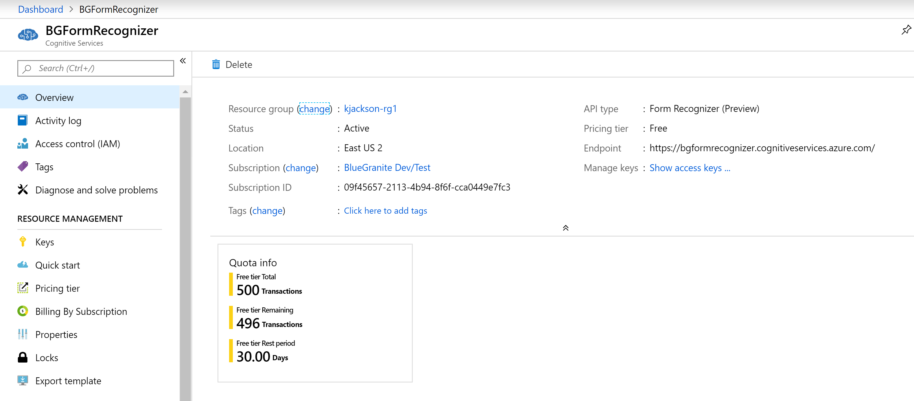 form recognizer in azure search example