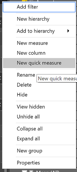 new quick measure